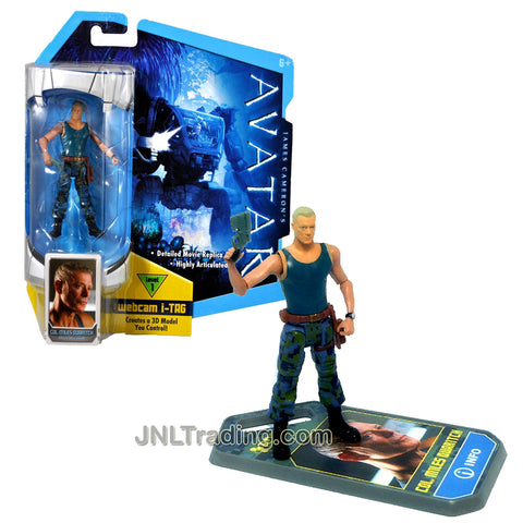 Year 2009 James Cameron's AVATAR Highly Articulated Detailed Movie Replica 4 Inch Tall Action Figure - COL. MILES QUARITCH with Pistol and Level 1 Webcam i-Tag (R2297)