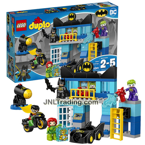 Lego Year 2017 Duplo DC Series Set #10842 - BATCAVE CHALLENGE with Batmobile, Batcycle and Batman, Robin, The Joker and Poison Ivy Figure (Pieces: 83)