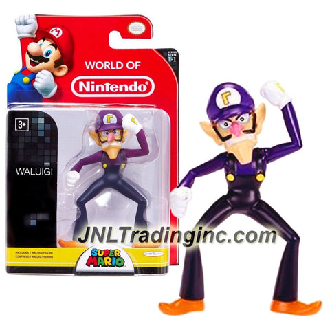 "Jakks Pacific Year 2014 World of Nintendo ""Super Mario"" Series 3 Inch Tall Mini Figure - WALUIGI"