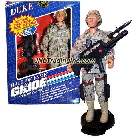 "Hasbro Year 1991 G.I. Joe A Real American Hall of Fame Series Numbered Collector Edition Classic 12 Inch Tall Soldier Action Figure - DUKE with Authentic Battle Uniform, Dog Tags, Backpack, ""Fritz"" Helmet, ""Stinger"" Dagger with Sheath, Gun with Holster, MAS-62mm Assault Rifle and Boots"
