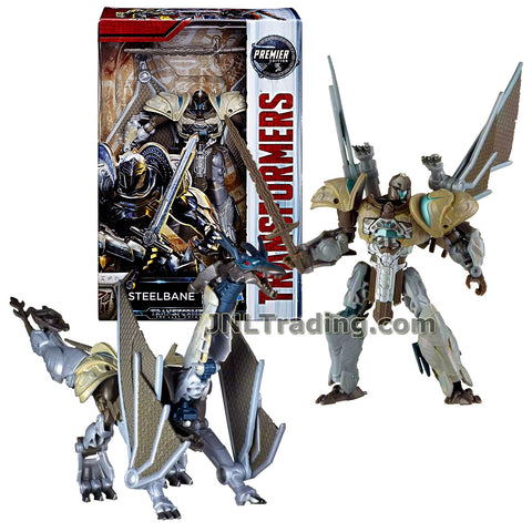 Transformers Year 2016 The Last Knight Movie Premier Edition Series Deluxe Class 5-1/2 Inch Tall Figure - STEELBANE with Sword (Beast: Dragon)