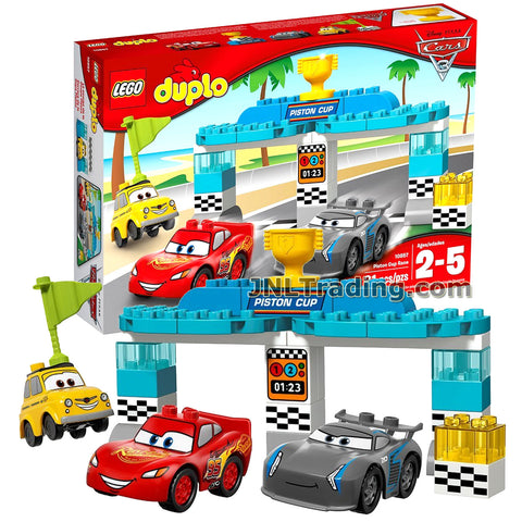 Lego Year 2017 Duplo Disney Pixar Car Series Set #10857 - PISTON CUP RACE with Starting Gate Plus Lightning McQueen, Jackson Storm and Luigi Figure  (Pieces: 31)