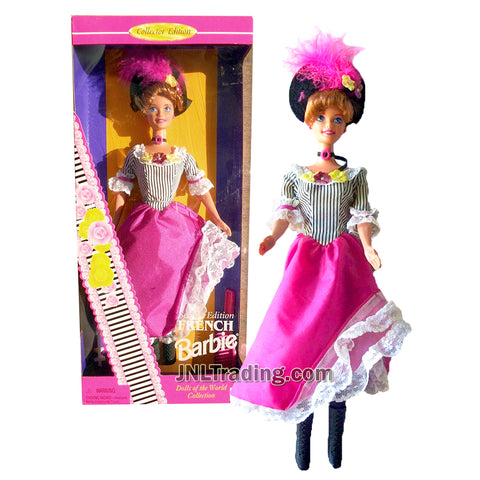 Year 1996 Barbie Collector Dolls of the World Collection Series 12 Inch Doll - Second Edition FRENCH Barbie Doll with Dress, Tights, Hat, Boots, Necklace, Labeled Doll Stand and Hair Brush