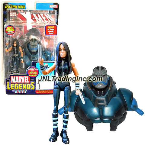 "ToyBiz Year 2005 Marvel Legends Apocalypse Series 6 Inch Tall Action Figure - Black Suit Variant X-23 with 32 Points of Articulation Plus ""Upper Torso and Head"" of Apocalypse and 32 Page Comic Book"