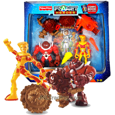 Year 2007 Planet Heroes Exclusive 5 Inch Tall Figure Gift Set - Mars Digger with Spinning Drill , Venus Dazzle with Lava Launcher, 2 Trading Cards Plus Bonus Comic Book