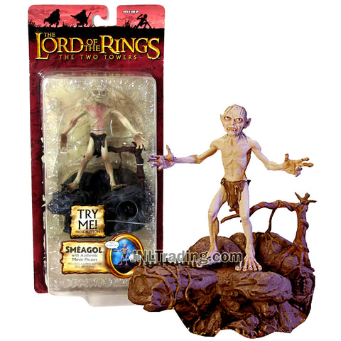 Year 2004 Lord of the Rings Movie The Two Towers Series 4 Inch Tall Figure - SMEAGOL (GOLLUM) with Electronic Sound FX Base