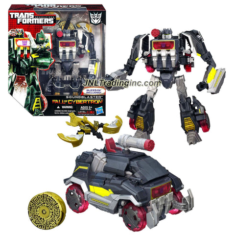 Hasbro Year 2012 Transformers Generations Fall of Cybertron Series 01 Voyager Class 7-1/2 Inch Tall Robot Action Figure Set #002 - Decepticon SOUNDBLASTER with Blaster Pistol and BUZZSAW Data Disc Figure (Vehicle Mode: Communications Truck)