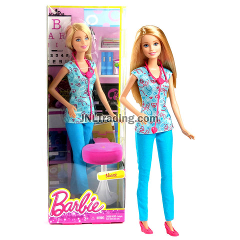 Year 2014 Barbie Career Series 12 Inch Doll - NURSE DGG41 with Stethoscope