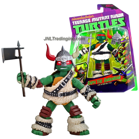 Playmates Year 2014 Nickelodeon Teenage Mutant Ninja Turtles 5 Inch Tall Action Figure - Live Action Role Play RAPH THE BARBARIAN with Viking Helmet and Battle Axe