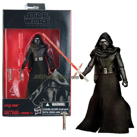"Hasbro Year 2015 Star Wars The Black Series Exclusive 4-1/2"" Tall Action Figure - KYLO REN with Red Lightsaber and Lightsaber'S Hilt"