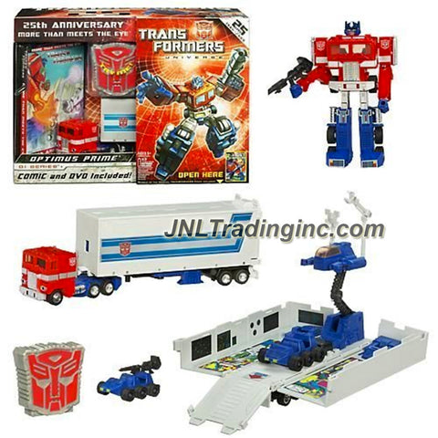 Hasbro Year 2009 Transformers Universe 25th Anniversary G1 Series 6 Inch Tall Robot Action Figure - Optimus Prime with Autobot Shield, Trailer that Converts to Battle Station, 2 Firing Missiles, Comic and DVD