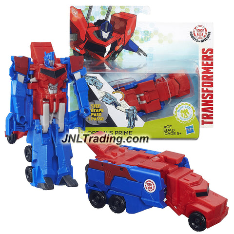 Hasbro Year 2015 Transformers Robots in Disguise Animation Series One Step Changer 5 Inch Tall Robot Figure - OPTIMUS PRIME (Vehicle Mode: Rig Truck)