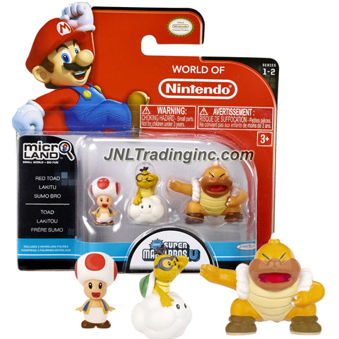 Jakks Pacific Year 2015 World of Nintendo Super Mario Bros U Series 3 Pack 1 Inch Tall Micro Land Mini Figure - RED TOAD, LAKITU and SUMO BRO