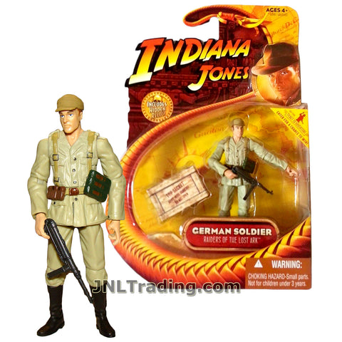 Indiana Jones Year 2008 Raiders of the Lost Ark Movie Series 4 Inch Tall Figure - GERMAN SOLDIER in Uniform with Machine Gun and Hidden Relic