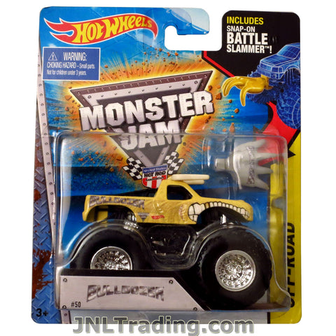 "Hot Wheels Year 2014 Monster Jam 1:64 Scale Die Cast Truck OFF-ROAD Series - BULLDOZER W2405 with Snap-On Battle Slammer (D: 3-1/2"" L x 2-1/4"" W x 2-1/2"" H)"