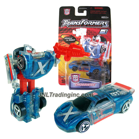 Hasbro Year 2001 Transformers Robots In Disguise Series Spy Changers Class 3 Inch Tall Robot Action Figure - Autobot CROSSWISE with Blaster (Vehicle Mode: Sports Car)