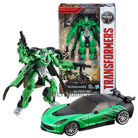 Year 2016 Transformers The Last Knight Movie Premier Edition Series Deluxe Class 5-1/2 Inch Tall Figure - Rogue Sharpshooter CROSSHAIRS with Blasters (Vehicle Mode: Corvette)