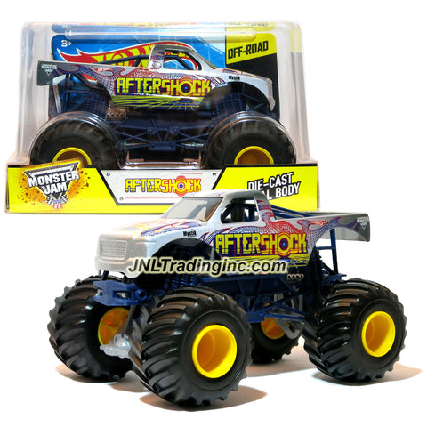 "Hot Wheels Year 2015 Monster Jam 1:24 Scale Die Cast Official Monster Truck Series - Grey AFTERSHOCK (CGD86) with Monster Tires, Working Suspension and 4 Wheel Steering (Dimension - 7"" L x 5-1/2"" W x 4-1/2"" H)"
