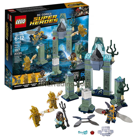 Year 2017 Lego SC Comics Super Heroes Series Set 76085 - BATTLE OF ATLANTIS with Aquaman, Parademon and 2 Atlantean Guards Minifigures  (Pieces: 197)