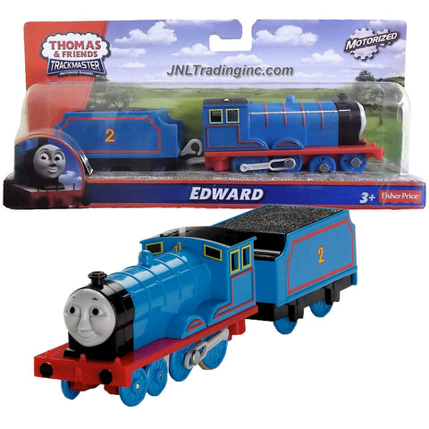 "Fisher Price Year 2013 Thomas and Friends Trackmaster Motorized Railway Battery Powered Tank Engine 2 Pack Train Set - EDWARD the Blue Color Mixed-Traffic Engine with ""Coal Loaded"" Car"