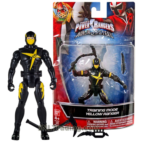 Power Rangers Year 2017 Saban's Ninja Steel Series 5 Inch Tall Figure - Training Mode YELLOW RANGER with Dagger and Sickle