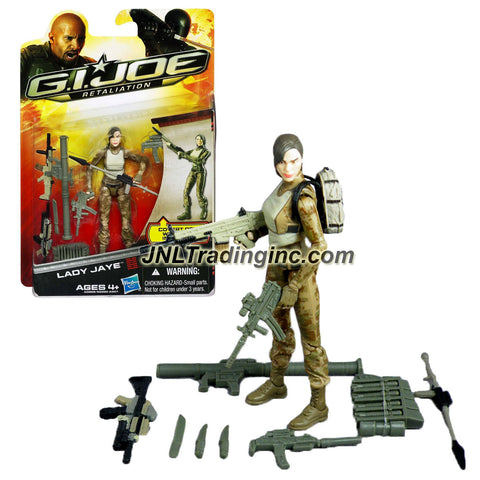 "Hasbro Year 2012 G.I. JOE Movie Series ""Retaliation"" 4 Inch Tall Action Figure - LADY JAYE with 2 Assault Rifle, Bazooka, Assault Rifle with Greanade Launcher, 2 Knifes, Harpoon, Sub-machine Gun and Backpack"