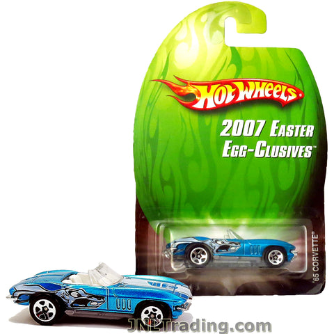 Hot Wheels Year 2007 Easter Egg-Clusives Series 1:64 Scale Die Cast Car Set - Blue Classic Sports Coupe Convertible '65 CORVETTE L4701