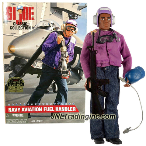 "Hasbro Year 1997 G.I. JOE Classic Collection 12 Inch Tall Soldier Figure - NAVY AVIATION FUEL HANDLER aka ""Grapes"" (African American) with Cap, Ground Cable, Clasp, Dog Tags, Goggles and M-16 Rifle"