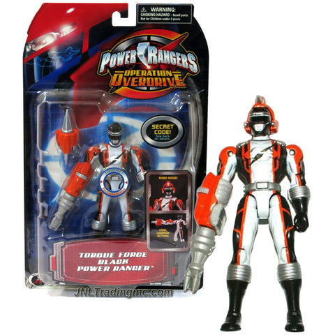 Bandai Year 2006 Power Rangers Operation Overdrive Series 5-1/2 Inch Tall Action Figure - TORQUE FORCE BLACK POWER RANGER with Robo Mode Helmet and Weapon