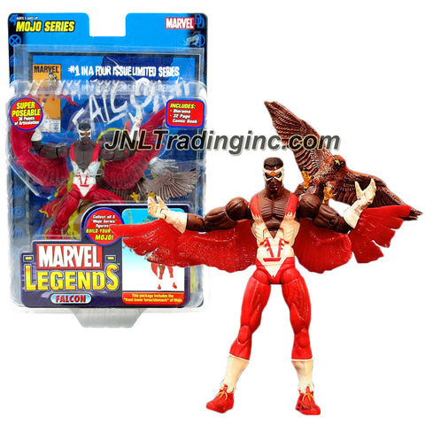 "ToyBiz Year 2006 Marvel Legends Mojo Series 6 Inch Tall Action Figure - FALCON with 36 Points of Articulation, Pet Bird ""Redwing"", Diorama, Comic Book and Mojo's Front Lower Torso/Stomach"