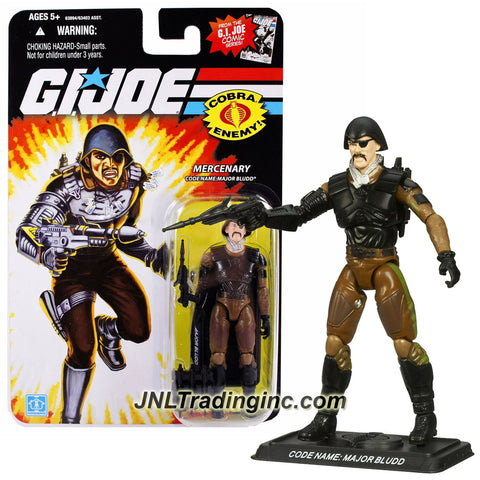 Hasbro Year 2008 G.I. JOE A Real American Hero Comic Series 4 Inch Tall Action Figure - Mercenary MAJOR BLUDD with Missile Launcher, Missile Holder Backpack with 3 Missiles and Display Base