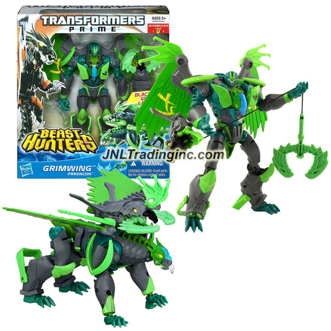 Hasbro Year 2012 Transformers Prime Beast Hunter Series Voyager Class 7 Inch Tall Robot Action Figure #004 - Predacon GRIMWING with Blackbeak Grapple Launcher (Beast Mode: Griffin)