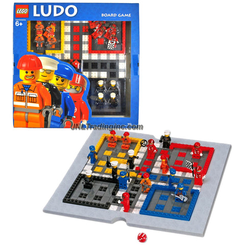 Lego Year 2006 Board Game Set #4499572 - LUDO with Gameboard, Dice, 4 Policeman Minifigures, 4 Construction Worker Minifigures, 4 Repairman/Mechanics Minifigures and 4 Race Car Driver Minifigures (Total Pieces: 79)