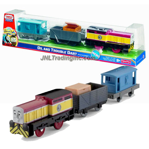 "Fisher Price Year 2011 Thomas and Friends DVD Series As Seen On ""Day of the Diesels"" Trackmaster Motorized Railway Battery Powered Tank Engine 3 Pack Train Set - OIL and TROUBLE DART (V9038) with Wagon Car Loaded with ""Hose"" Crate and Brake Van"