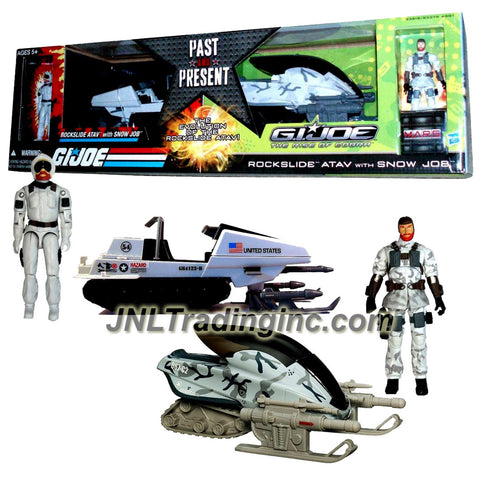 Hasbro Year 2009 GI JOE Exclusive Past and Present Series 2 Pack 4 Inch Tall Action Figure with Vehicle Set - THE EVOLUTION OF THE ROCKSLIDE ATAV with SNOW JOB  Figure (Classic and The Rise of Cobra Series)