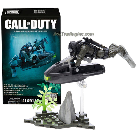 Mega Bloks Year 2015 Call of Duty Series Micro Action Figure Set CNG72 - SEAL SPECIALIST with Underwater Vehicle, Rifle and Seabed Base