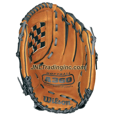 Wilson Genuine Leather Slow Pitch Softball 13 Inch Over Sized Pocket Right Hand Throw Glove Mitt - Model: A360 , Color: Brown and Black
