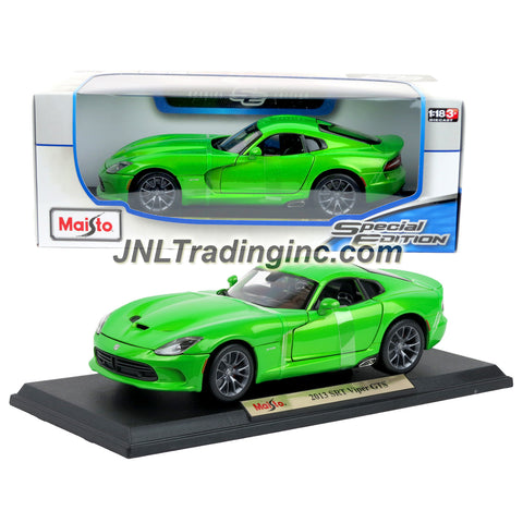 "Maisto Special Edition Series 1:18 Scale Die Cast Car -  Lime Green Two Seat Sports Car 2013 SRT VIPER GTS with Base (Dimension:9-1/2"" x 4"" x 2-1/2"")"
