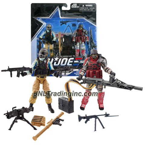 Hasbro Year 2015 G.I. JOE 50 Series 2 Pack 4 Inch Tall Action Figure Set - TROOP BUILD-UP with STEEL BRIGADE and IRON GRENADIERS Plus Assault Rifles, Machine Guns, Bazooka and Profile Cards