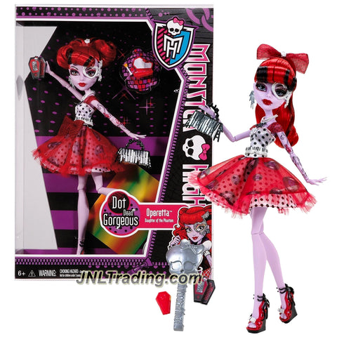 "Mattel Year 2011 Monster High ""Dot Dead Gorgeous"" Series 10 Inch Doll - Operetta ""Daughter of the Phantom of the Opera"" with Purse, Cosmetic Mirror, Hairbrush and Doll Stand (X4529)"