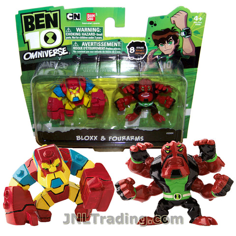 Cartoon Network Year 2013 Ben 10 Omniverse Series 2 Pack 2 Inch Tall Mini Action Figure Set - Bloxx and Fourarms