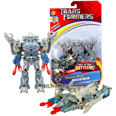 Transformer Year 2007 Fast Action Battlers Series 6 Inch Tall Figure - Decepticon Fusion Blast MEGATRON with Double Fusion Blast (Vehicle Mode: Cybertron Jet)