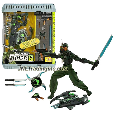 Hasbro Year 2006 G.I. JOE Sigma 6 Classified Series 8 Inch Tall Action Figure - Jungle Commando SNAKE EYES with Karasu Sword, 2 Knives, Undersea Mask, Blaster Rifle, Blaster Star, Washi Shield and Weapons Case