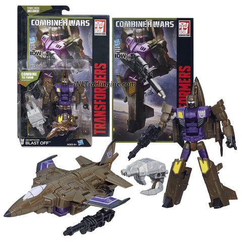 "Hasbro Year 2015 Transformers Generations Combiner Wars Series 5-1/2"" Tall Robot Figure - Decepticon BLAST OFF with Blaster, Bruticus' Right Arm and Comic Book (Vehicle Mode: Fighter Jet)"