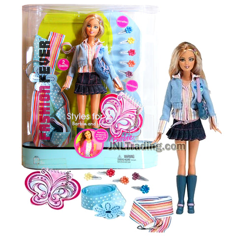 Year 2005 Barbie Styles for 2 Fashion Fever Series 12 Inch Doll - BARBIE H8575 in Blue Tops with Denim Skirts. Purse and Belt Plus 5 Barrettes, Notebook and Belt for You