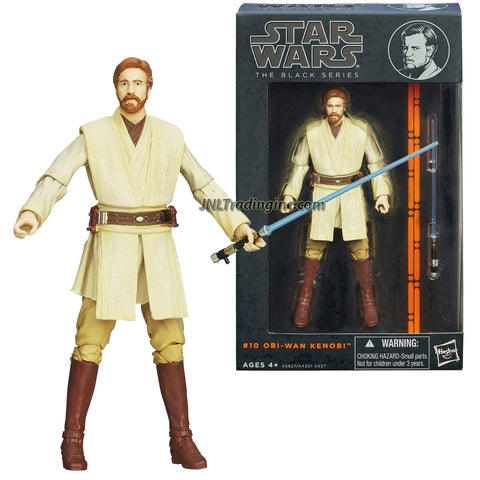 "Hasbro Year 2013 Star Wars The Black Series 6"" Tall Action Figure Set #10 : OBI-WAN KENOBI with Blue Lightsaber"