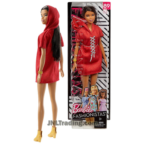 Barbie Year 2017 Fashionistas Series 12 Inch Doll Set #89 - Tall African American BARBIE FJF49 in Red XOXO Hoodie Dress