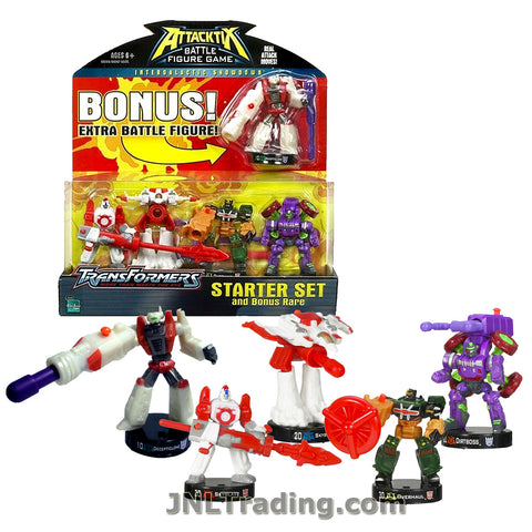 Attacktix Year 2006 Transformers Series Battle Figure Game Starter Set - Robot SKYBLAST ,Figher Jet SKYBLAST, OVERHAUL, DIRTBOSS and DECEPTICLONE