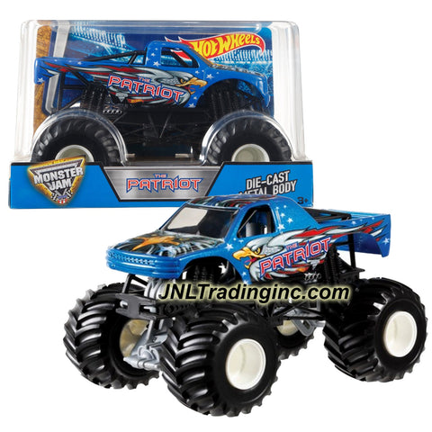 Hot Wheels Year 2016 Monster Jam 1:24 Scale Die Cast Monster Truck - THE PATRIOT (DJW87) with Monster Tires, Working Suspension and 4 Wheel Steering