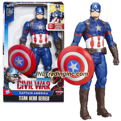 Hasbro Year 2015 Marvel Captain America - Civil War Titan Hero Series 12 Inch Tall Electronic Action Figure - CAPTAIN AMERICA with Sounds Plus Shield